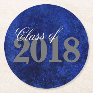 Sapphire Grad | Royal Cobalt Blue | Script Party Round Paper Coaster