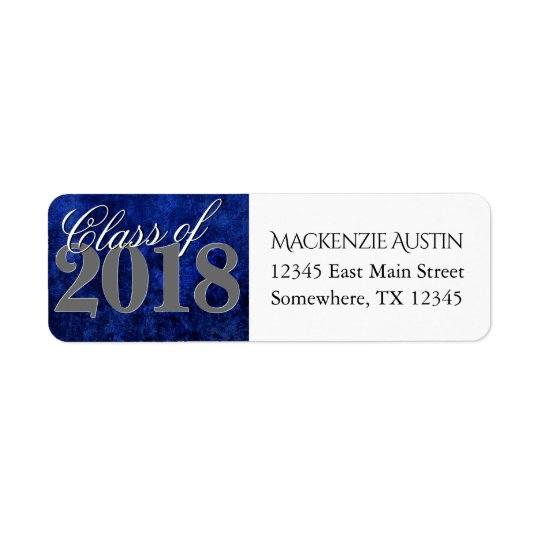 Sapphire Graduation | Blue Class of 2018 Party Return Address Label