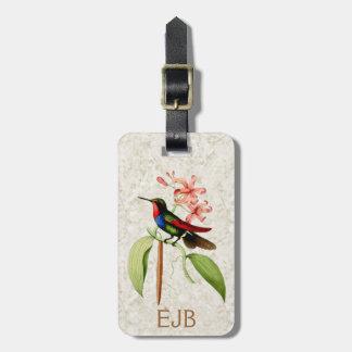 Sapphire Hummingbird Vintage Art Monogram Luggage Tag