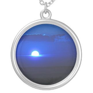 Sapphire Sunset Round Pendant Necklace
