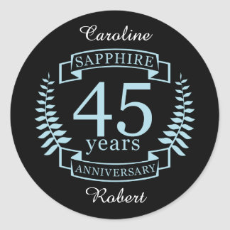 Sapphire Traditional 45th wedding anniversary Classic Round Sticker