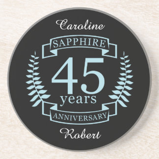 Sapphire Traditional 45th wedding anniversary Coaster