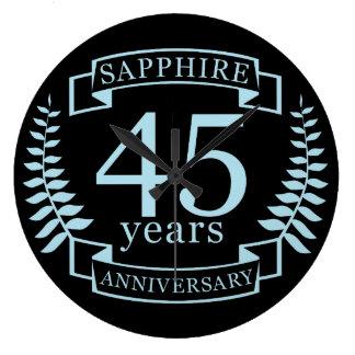 Sapphire Traditional 45th wedding anniversary Large Clock
