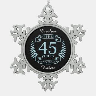 Sapphire Traditional 45th wedding anniversary Snowflake Pewter Christmas Ornament