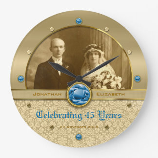 Sapphire Wedding Anniversary Blue Gem Damask Photo Clock