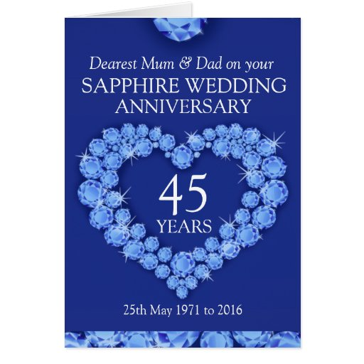 25th Wedding Anniversary Gift For Mom And Dad : Sapphire wedding anniversary mum and dad card Zazzle