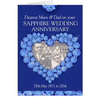 Sapphire wedding anniversary parents photo card