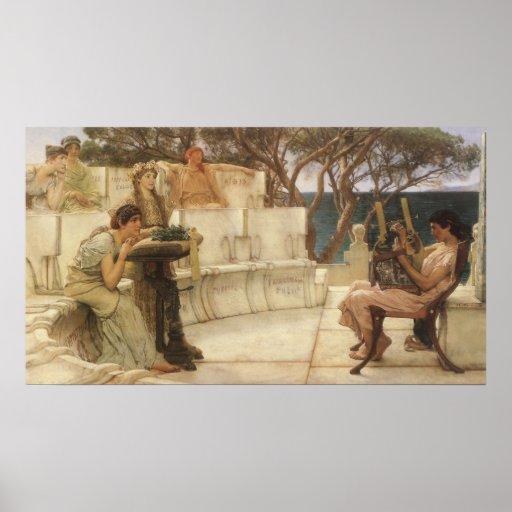 Sappho and Alcaeus by Alma Tadema, Vintage Art Print