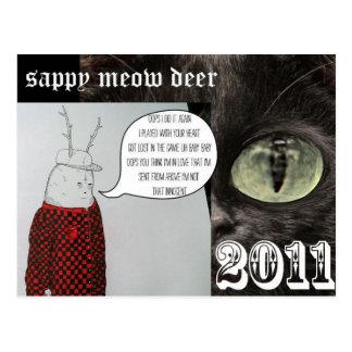 sappy meow deer postcard