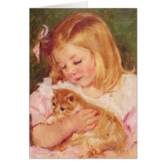 Sara holding a cat c. 1908 Mary Cassatt Card