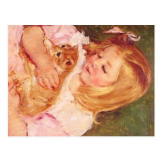 Sara Holding Her Kitten by Marie Cassatt Postcard