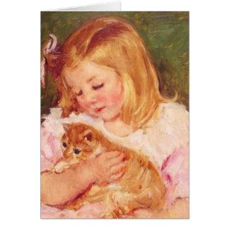 Sara Holding Her Kitten by Mary Cassatt Card