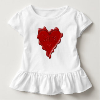 Sara. Red heart wax seal with name Sara Toddler T-Shirt