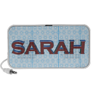 Sarah 3D text graphic over light blue lace iPhone Speaker