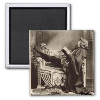 Sarah Bernhardt (1844-1923) as Hamlet in the 1899 Square Magnet