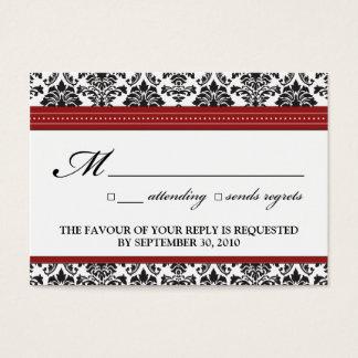 """::sarah:: Damask 3.5""""x2.5"""" Wedding RSVP Card"""
