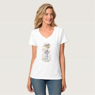 """Sarah Kay """"Camille"""" V-Neck T-Shirt White"""