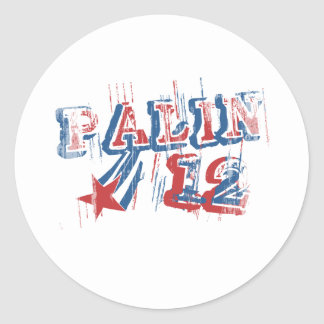 SARAH PALIN '12 Faded.png Round Stickers
