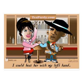 Sarah Palin and Obama Mano a Mano Postcard