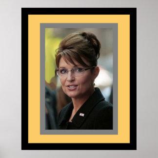 Sarah Palin; framed yellow and black Poster