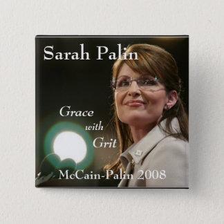 Sarah Palin, Grace, with Grit 15 Cm Square Badge