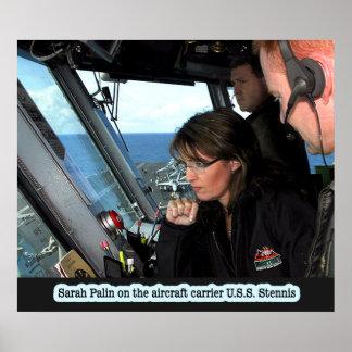 Sarah Palin On The U.S.S. Stennis Print