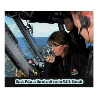 Sarah Palin On The U S S Stennis Print
