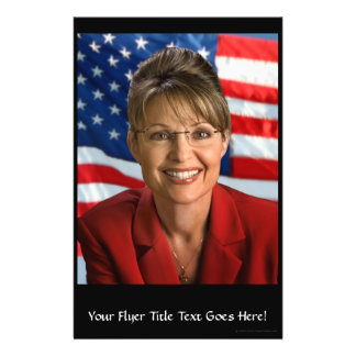 Sarah Palin Picture with Waving Flag 14 Cm X 21.5 Cm Flyer