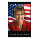 Sarah Palin Picture with Waving Flag Personalized Flyer