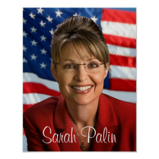 Sarah Palin Picture with Waving Flag Poster