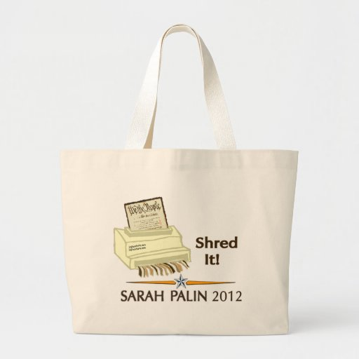 Sarah Palin SHRED THE CONSTITUTION Canvas Bags