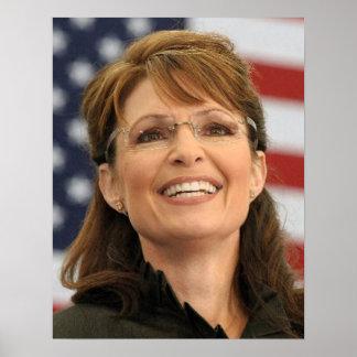 Sarah Palin Smiling with Flag Poster