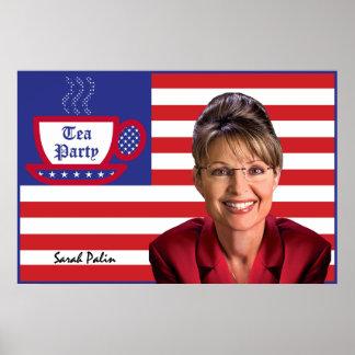 Sarah Palin & The Tea Party Flag Poster