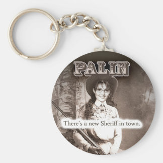 Sarah Palin, There's a new Sheriff in town. Basic Round Button Key Ring