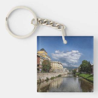 Sarajevo city, capital of Bosnia and Herzegovina Double-Sided Square Acrylic Key Ring