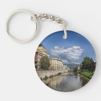 Sarajevo city, capital of Bosnia and Herzegovina Single-Sided Round Acrylic Key Ring