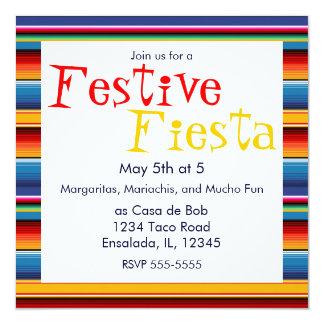 """Sarape Cinco de Mayo Invitation 5.25"""" Square Invitation Card"""