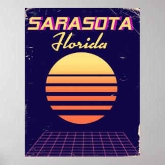 Sarasota Florida 1980s vintage travel print. Poster