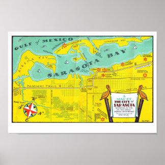 Sarasota Vintage Tourist Map Poster