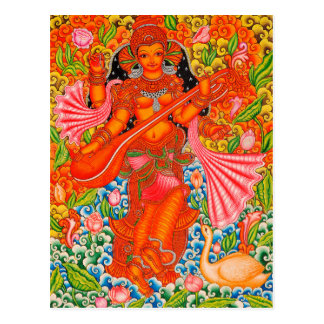 SARASWATI HINDU GODDESS OF LEARNING TANJORE POSTCARD