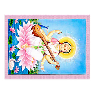 Saraswati Sitting on Pink Lotus Postcard