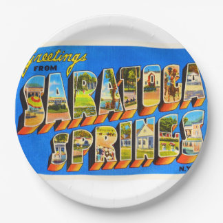 Saratoga Springs New York NY Old Travel Souvenir 9 Inch Paper Plate