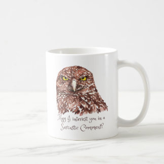Sarcastic Humor Quote Watercolor Grumpy Owl Basic White Mug