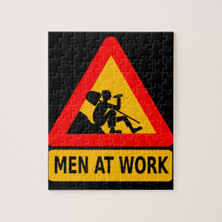 Sarcastic Men At Work Caution Sign - Drinking Jigsaw Puzzle