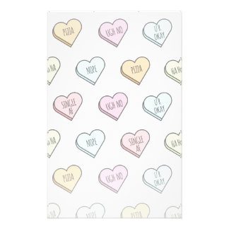 Sarcastic Valentine's Candy Heart Pattern Stationery