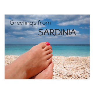 Sardinia beach greetings text postcard