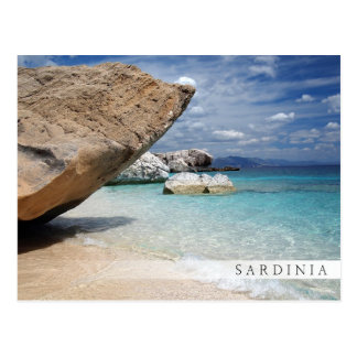 Sardinia beach with big rocks bar postcard