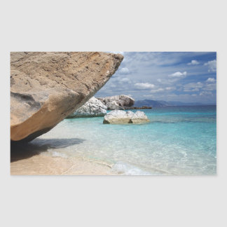 Sardinia beach with big rocks rectangular sticker
