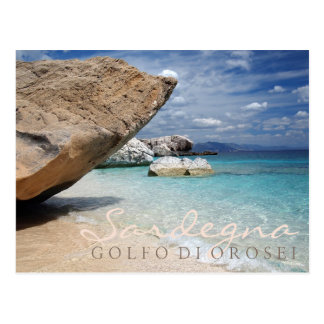 Sardinia beach with big rocks text postcard