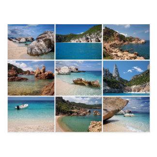 Sardinia beaches collage postcard